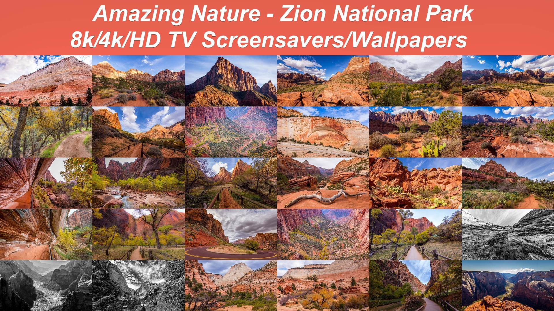 Amazing Nature: Zion National Park u2013 8K/4K/HD TV Screensavers/Wallpapers