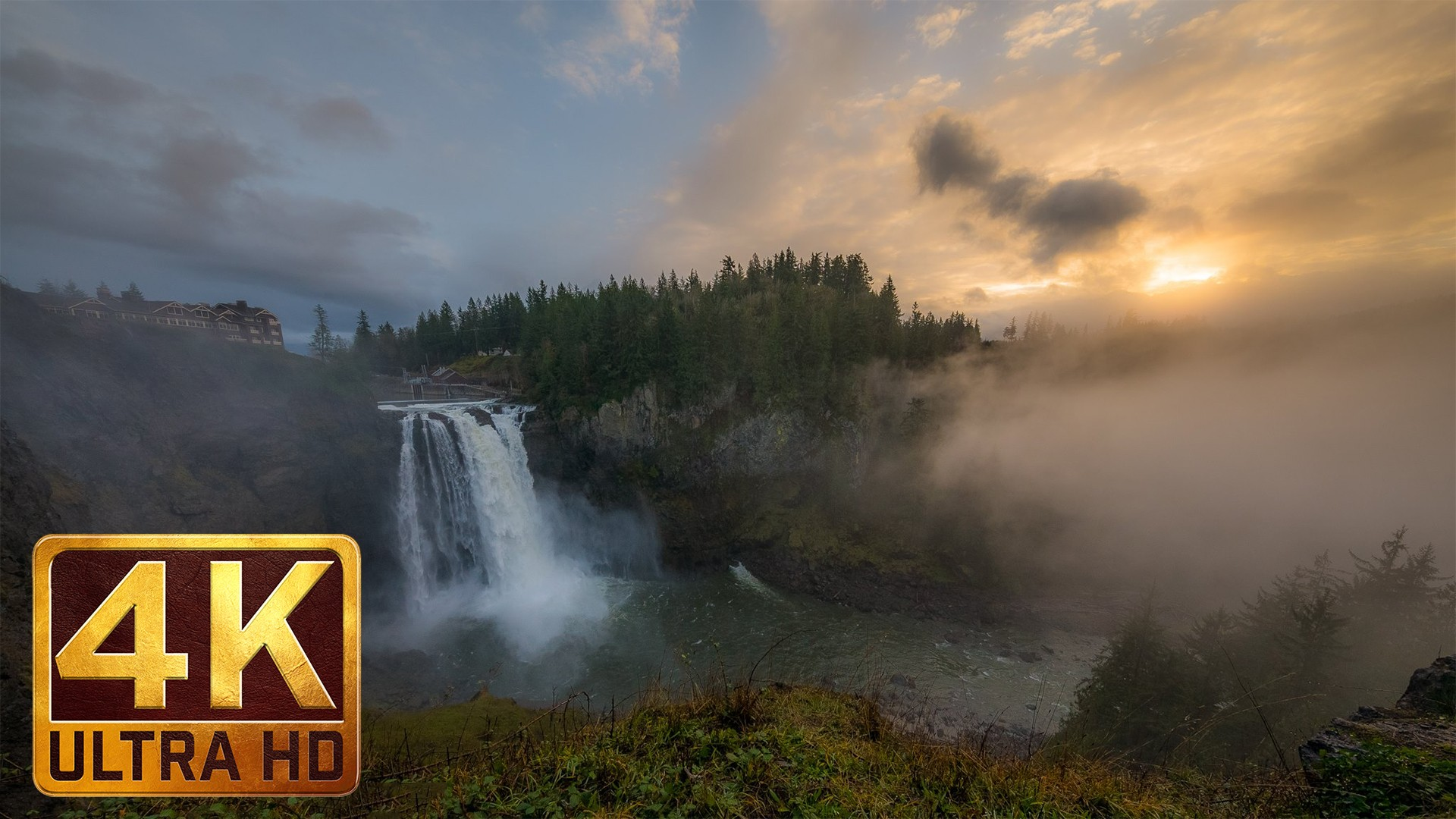 4K Nature Relaxation Footage – Snoqualmie Falls, Washington State