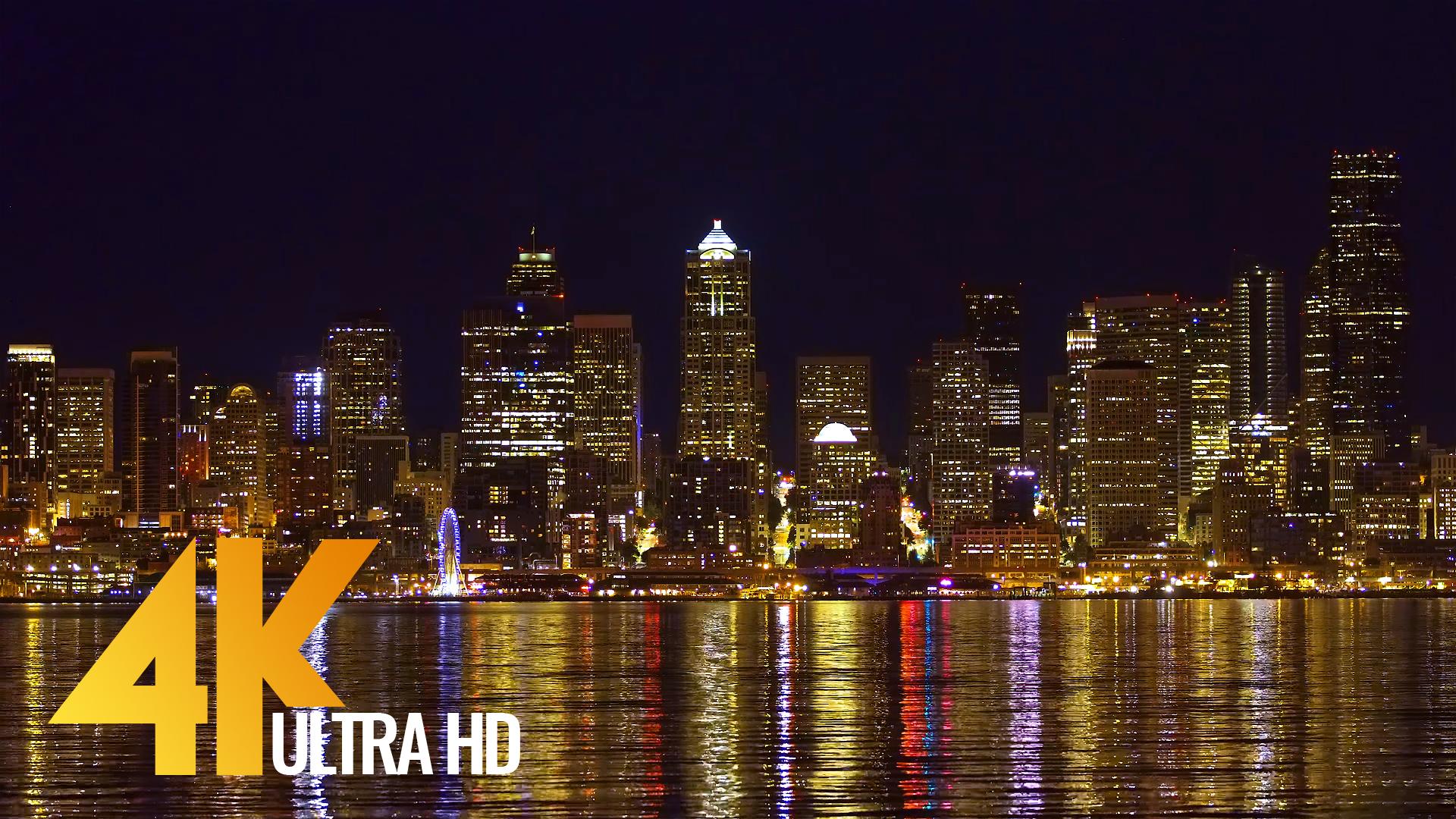 Night Seattle 4k Relax Cityscapes Video Proartinc