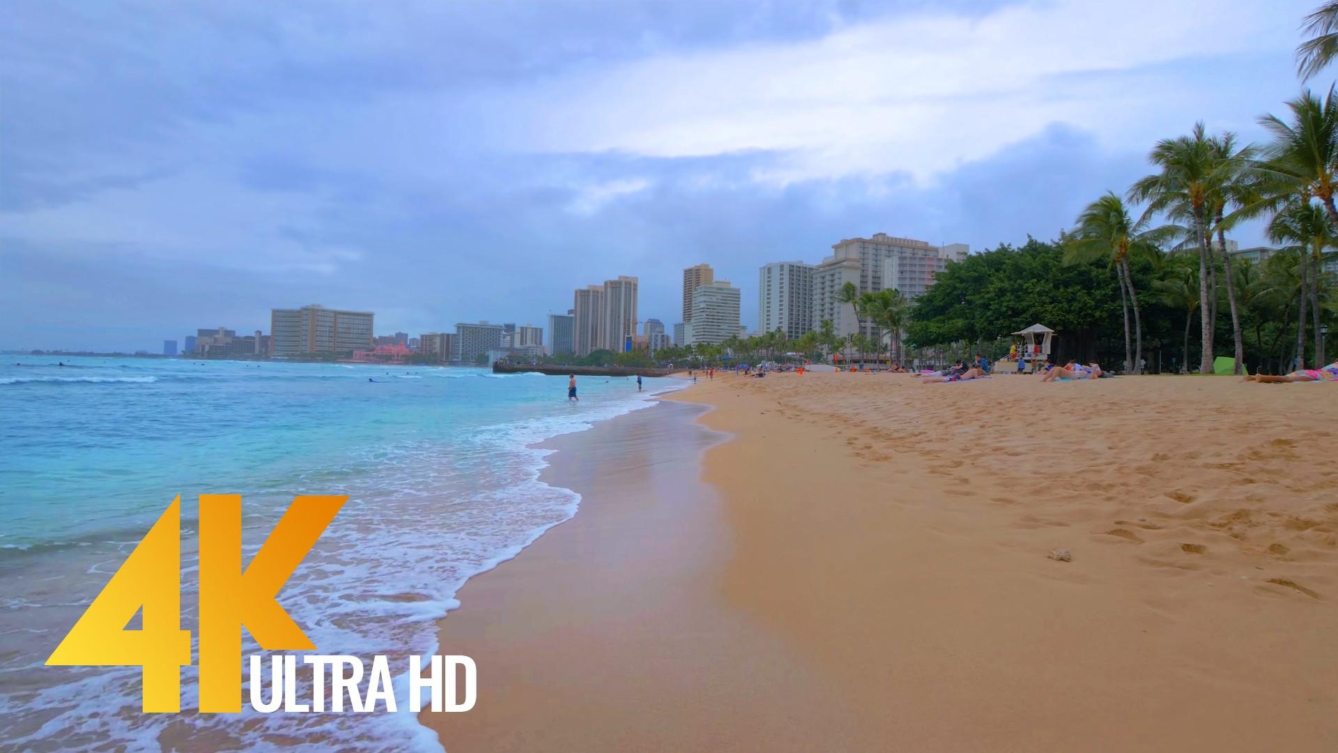 VIRTUAL WALK ALONG WAIKIKI BEACH, OAHU, HAWAII