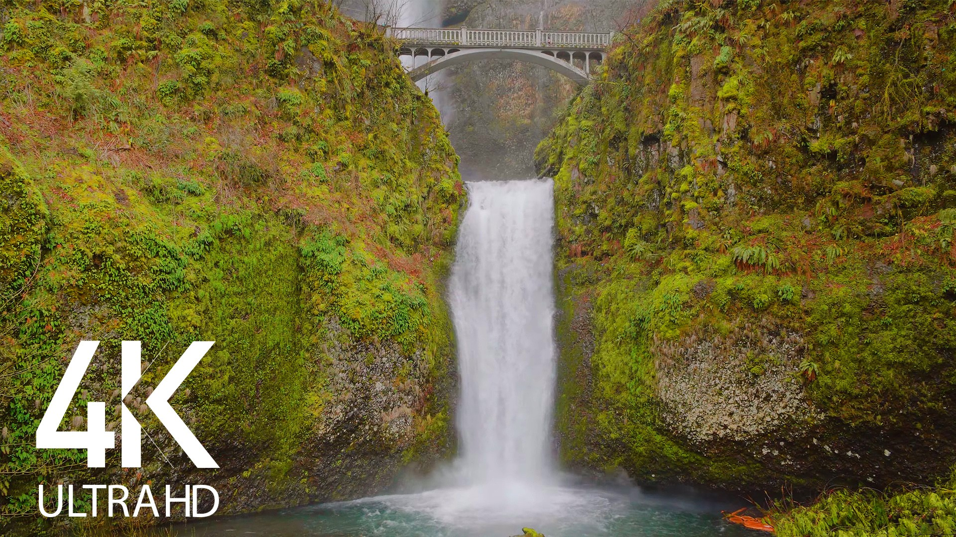 Multnomah Falls Wintertime Nature Relax Video
