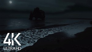 The Night Beauty of Icelandic Coastline Night