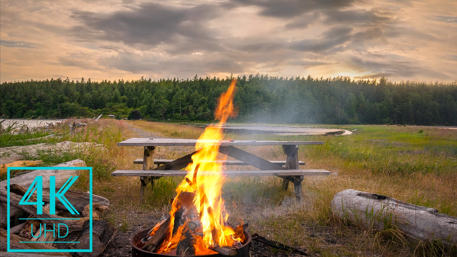Campfire Near The Lake Relax Video 3 Hours YOUTUBE