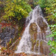 Falling Snow At Small Creek Waterfall Nature Relax