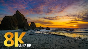 Spectacular sunset at Ruby Beach
