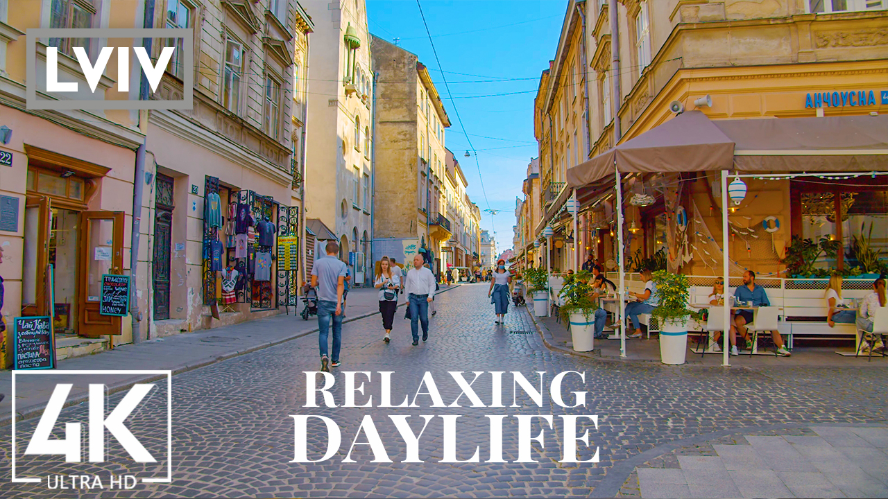 4K_Relaxing_Daylife_of_Lviv,_Ukraine_Urban_Life_Video_with_City