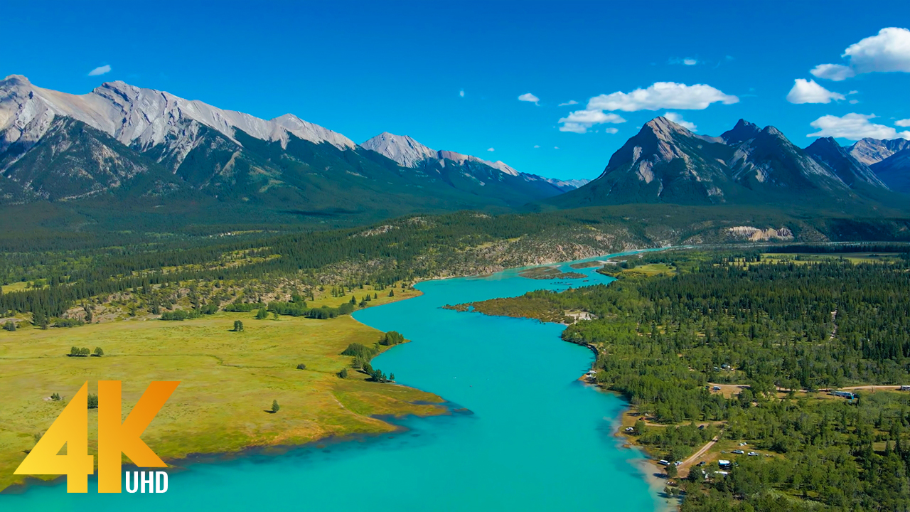 4K_Flight_over_the_river_Cline_River,_Canada_AERIAL_RELAX_VIDEO