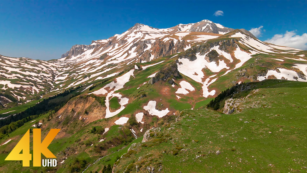 4K Over the spring Caucasus Aerial Relax Video YOUTUBE